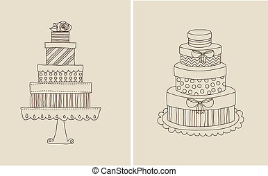 Cake and giflts - Vector illustration of doodle cake and...