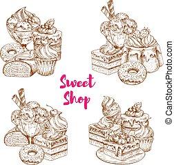 Cake and ice cream dessert sketch for food design