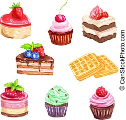 Cake and pastry set of watercolor dessert
