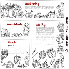 Cake and pastry shop sketch banner template set - Cake and...