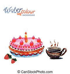 cake and tea cup white background with space for text, watercolor
