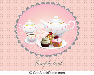 Cake and tea.Vector illustration - Cup cakes and pot of...