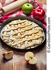 Cake, apples and icing sugar