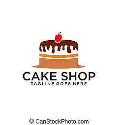 Cake bakery shop logo design vector template