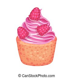 Cake basket with pink cream. Vector illustration on a white background.