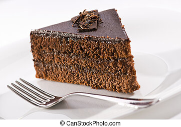 Cake - Beautiful tasty chocolate sacher cake close up shoot