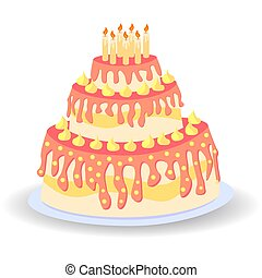 Cake birthday with candles and cream isolated on white background