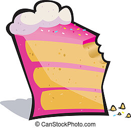 Vector cartoon of a pretty pink slice of cake missing a bite!