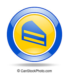 cake blue and yellow web glossy round icon
