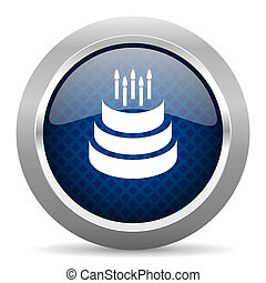 cake blue circle glossy web icon on white background, round button for internet and mobile app