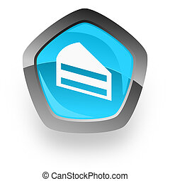 cake blue metallic chrome web pentagon glossy icon