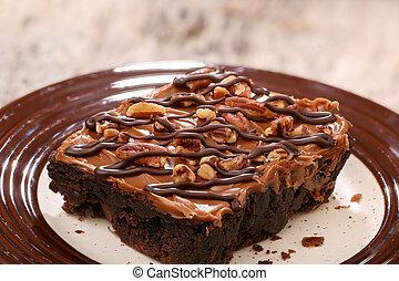 Cake brownie on a plate