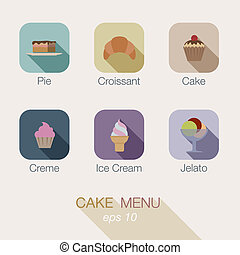 Cake Candy shop vector icon menu design. Apps buttons. -...