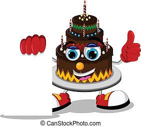 cake cartoon holding blank sign