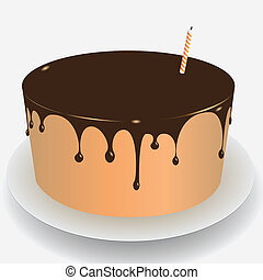 Cake with chocolate icing for the holiday. Vector illustration.