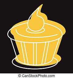 Cake chocolate icon in doodle style vector illustration for design and web