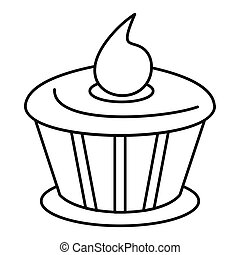 Cake chocolate icon in outline style vector illustration for design and web
