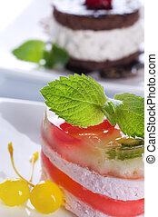 Cake Closeup. Light Dessert