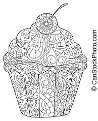 Cake Coloring book vector for adults