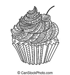 Cake coloring book vector illustration