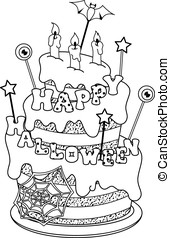 Cake Coloring Page - Cake for Halloween coloring page