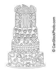 Cake coloring vector for adults