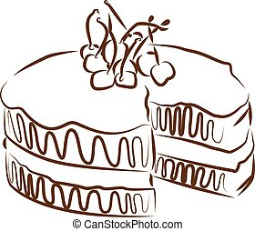 cake contour vector illustration isolated
