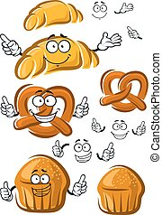 Cake, croissant and pretzel characters