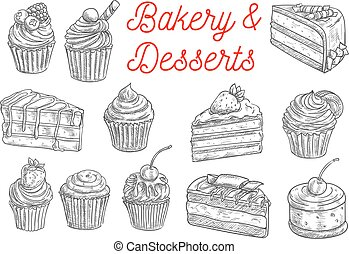 Cake, cupcake, fruit dessert and berry pie sketch
