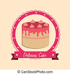 cake design - cake design over cream background vector...