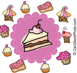 cake design over white background vector illustration