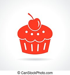 Cake dessert icon on white background