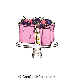Cake dessert on plate for teatime, flat cartoon vector illustration isolated