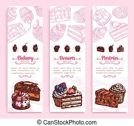 Cake desserts banner for bakery and pastry design