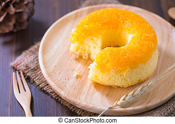 Cake donut on a plate