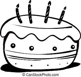 Cake drawing, illustration, vector on white background.