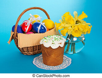 Cake, eggs in a basket - Easter cake, eggs in a basket and...