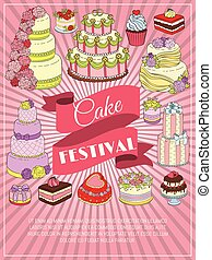 Cake festival banners vector illustration. Chocolate and fruity desserts for sweet shop with fresh and tasty cupcakes, cakes, pudding, biscuits, whipped cream, glaze and sprinkles.