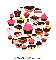 Cake flat icons set on circle. Cake vector illustration for design and web isolated