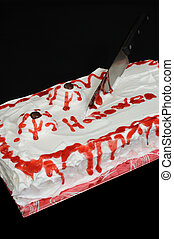 Cake Halloween in style of whipped cream with bloody eyes and knife