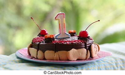 cake for my birthday for a year with cherries with candle