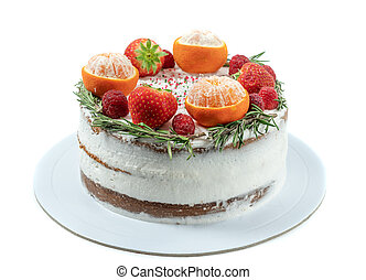 Cake for the winter holidays from fruits and decorations on a white background.