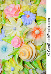 Close up shot of colorful cake frosting