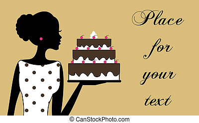 Cake Girl - Illustration of a woman holding a cake. Business...