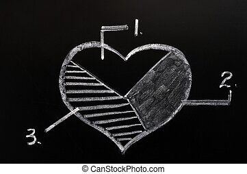 Cake graph of a heart shape in three pieces