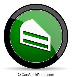 cake green web glossy icon with shadow on white background