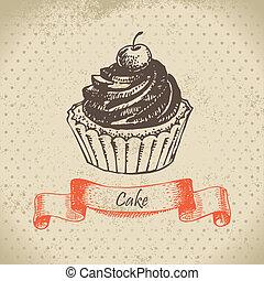 Cake. Hand drawn illustration