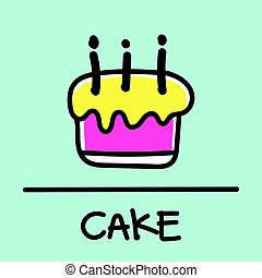 cake hand-drawn style,Vector illustration.