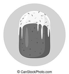 Cake icon, gray monochrome style