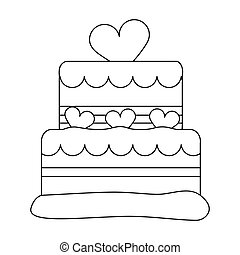 Cake icon in outline style isolated on white background. Fast food symbol stock vector illustration.